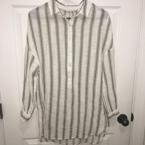 ZARA Vertical Striped Yellow White Black Shirt